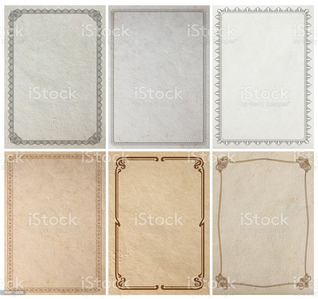 Old paper background texture with vintage frame border design - foto stock