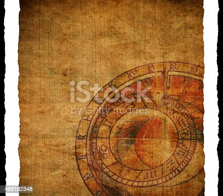 1129542015 istock photo Old paper background with clock 469182348