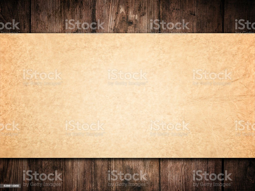 Old Paper Background Wood Wall, Brown Papers Texture  Wooden Planks stock photo