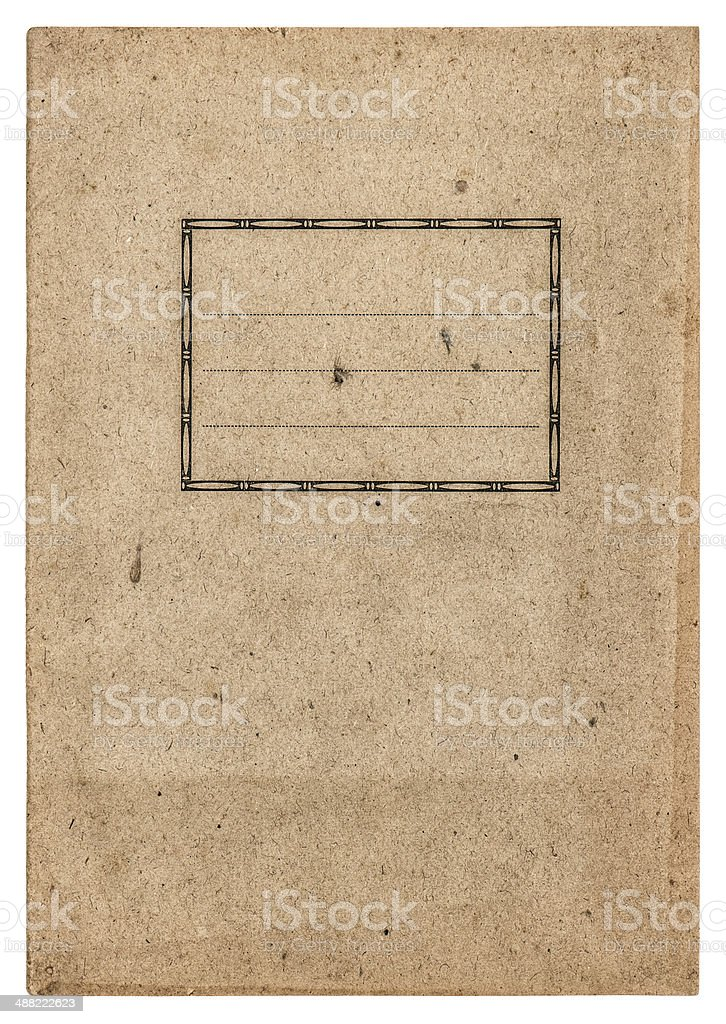 old paper book cover isolated on white stock photo