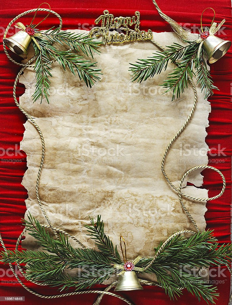 old paper bordering with christmas decoration royalty-free stock photo