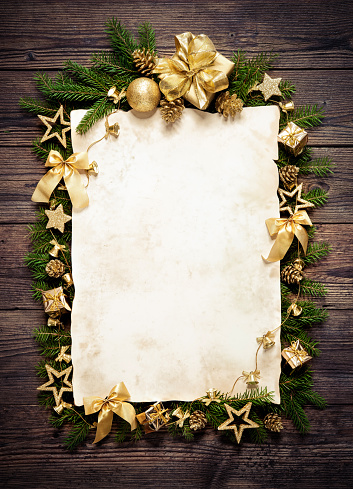 istock Old paper bordering with christmas decoration 606212044