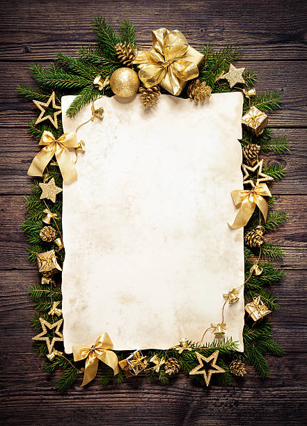 old paper bordering with christmas decoration - vintage ornaments stock photos and pictures