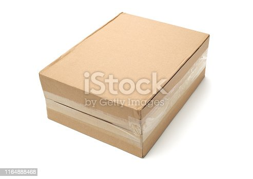 istock old paper box on white background 1164888468