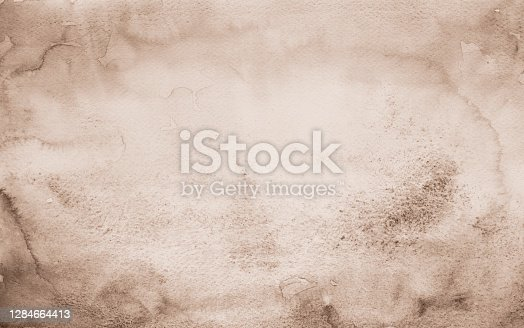 istock Old paper Brown watercolor background 1284664413