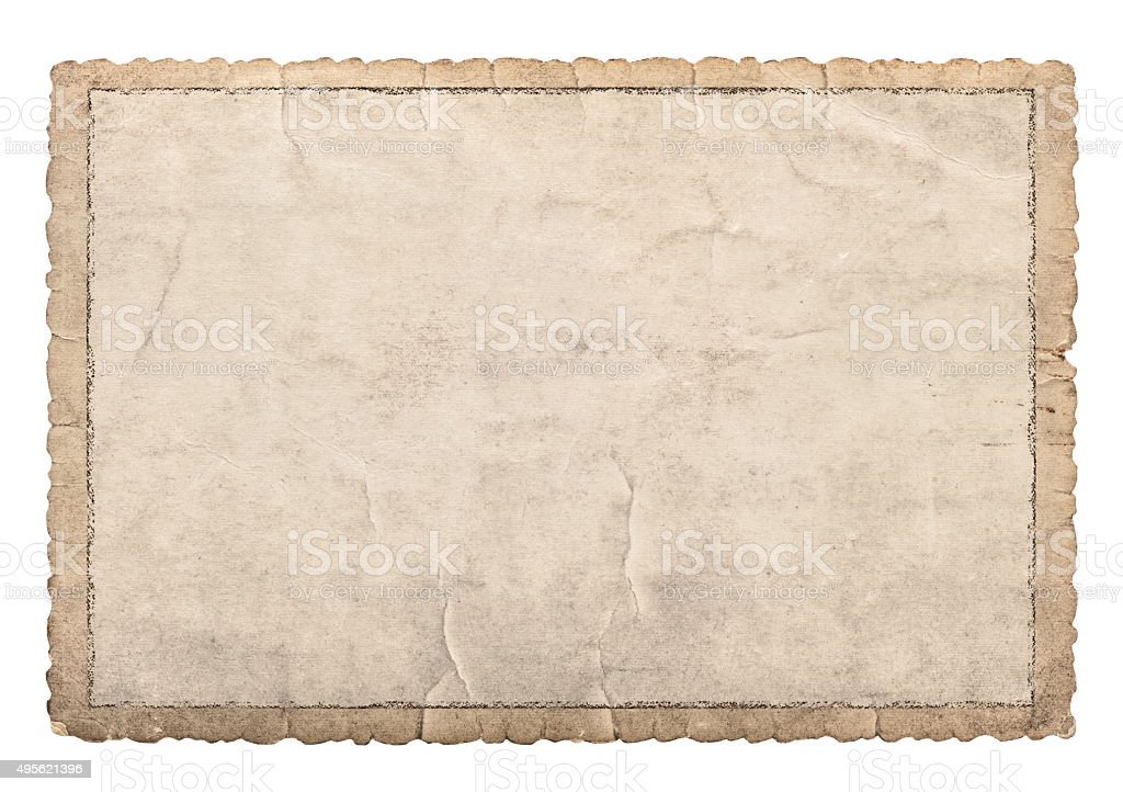 Old paper frame with carved edges for photos and pictures stock photo