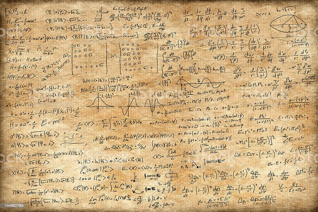 Old paper full of equations stock photo