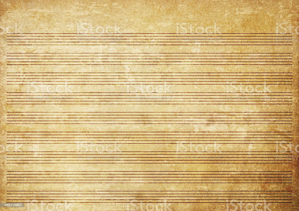 Old paper grunge music sheet texture background. royalty-free stock photo