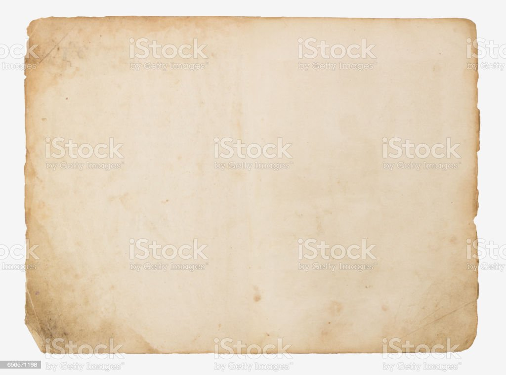 Old paper isolated on a white background stock photo