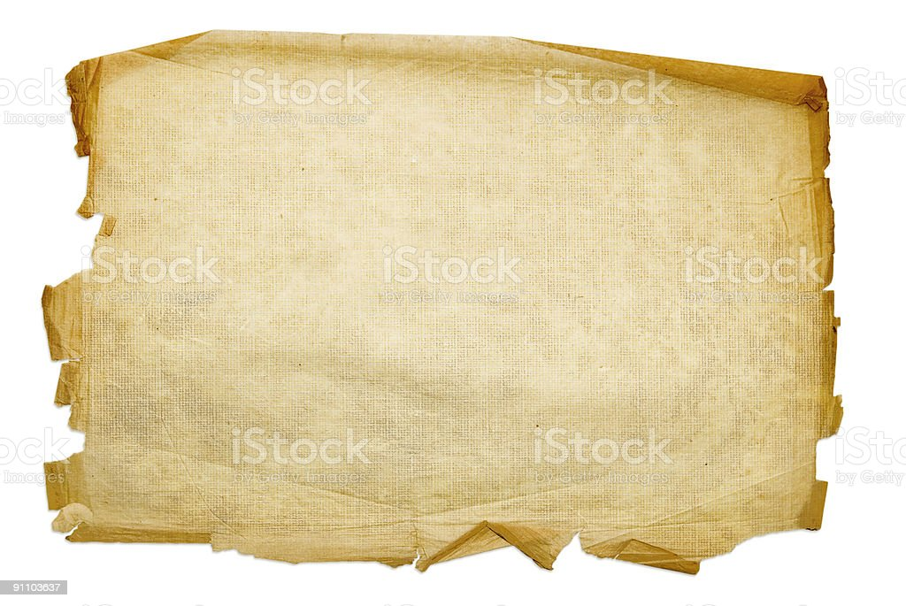 Old paper, isolated on white background stock photo