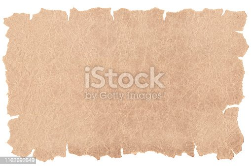 istock Old paper isolated on white background. Recycled paper,crumpled paper,unfolded piece paper. 1162692649