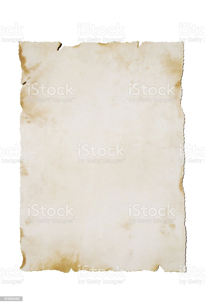 Old paper on White (vertical) royalty-free stock photo