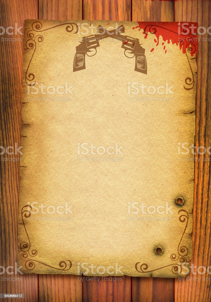 Old paper poster background with guns and blood. stock photo