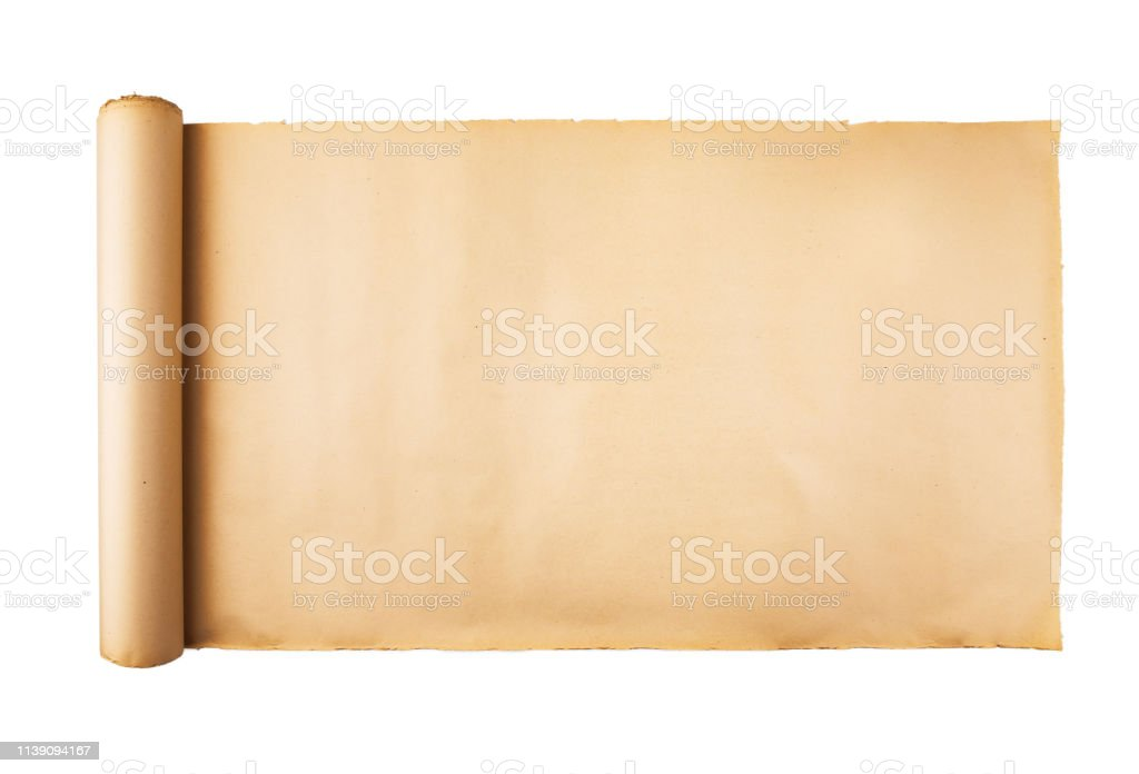 Old Paper Scroll On White Background Isolated Stock Photo