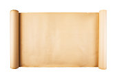 istock Old paper scroll on white background isolated 1139094185