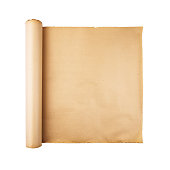 istock Old paper scroll on white background isolated 1172317300
