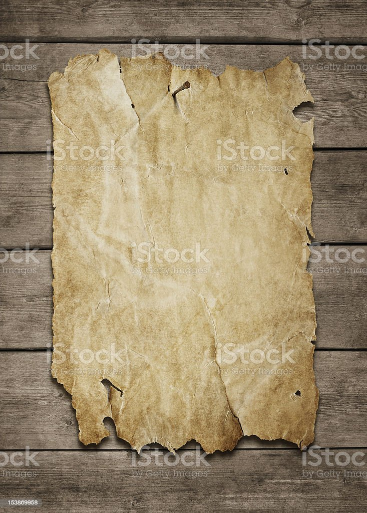 Old paper sheet at wooden wall royalty-free stock photo