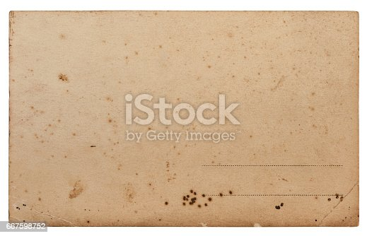 istock Old paper sheet blank postcard edges white background 667598752