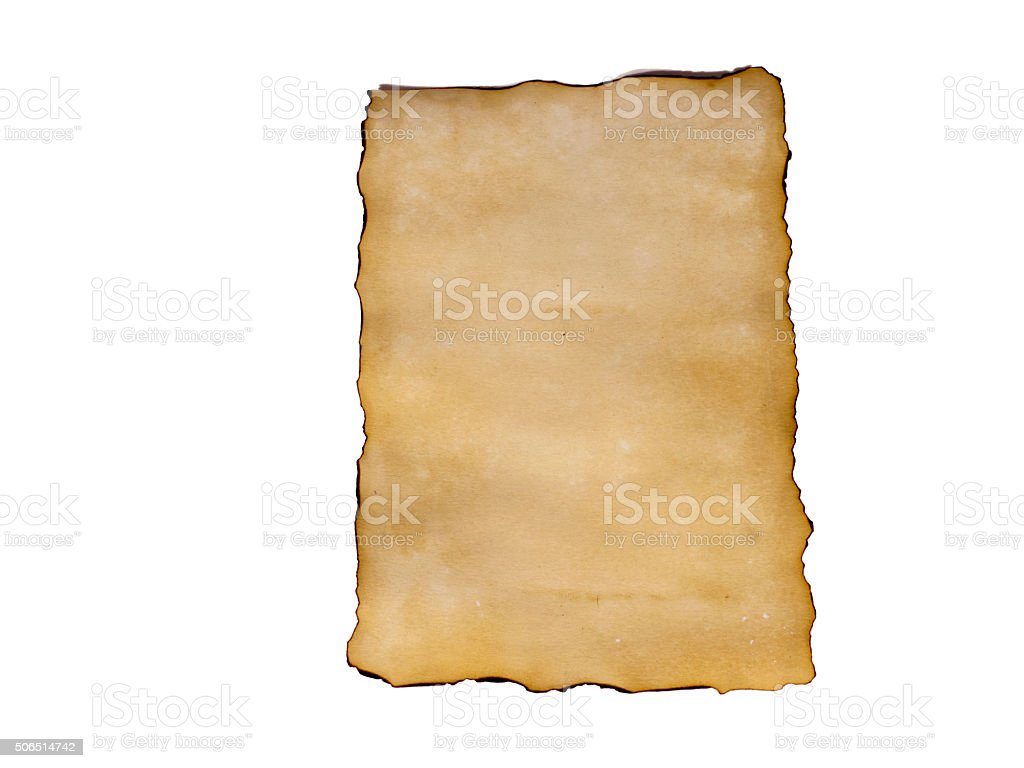 old paper sheet isolated on white background stock photo