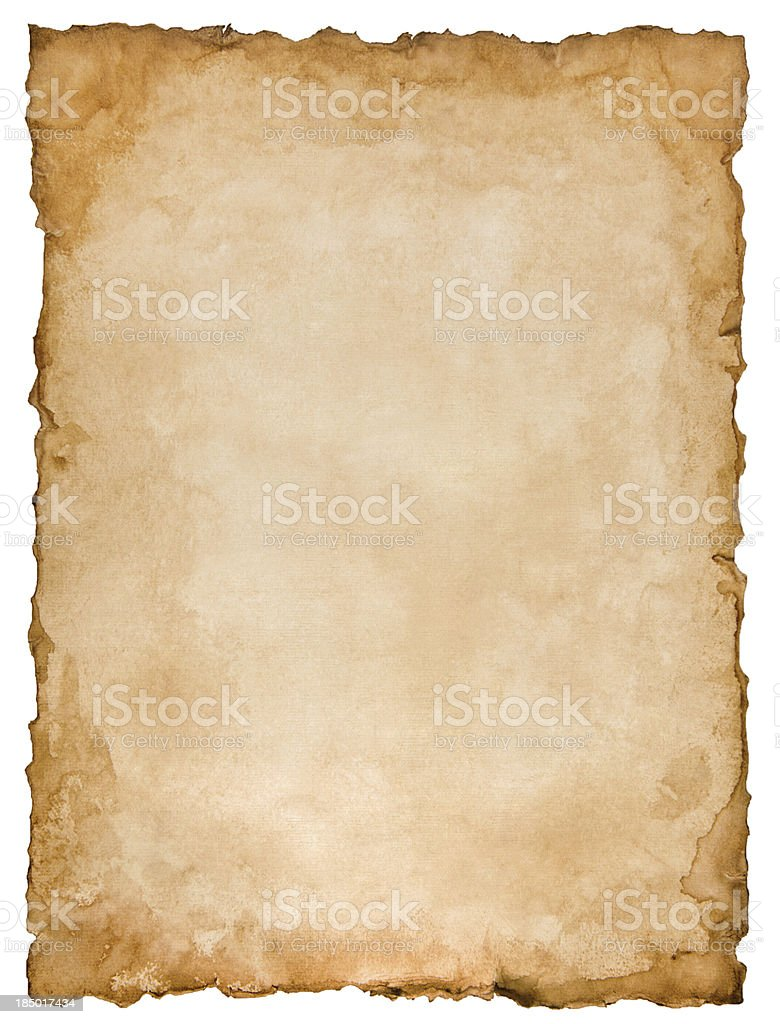 Old paper sheet isolated on white stock photo