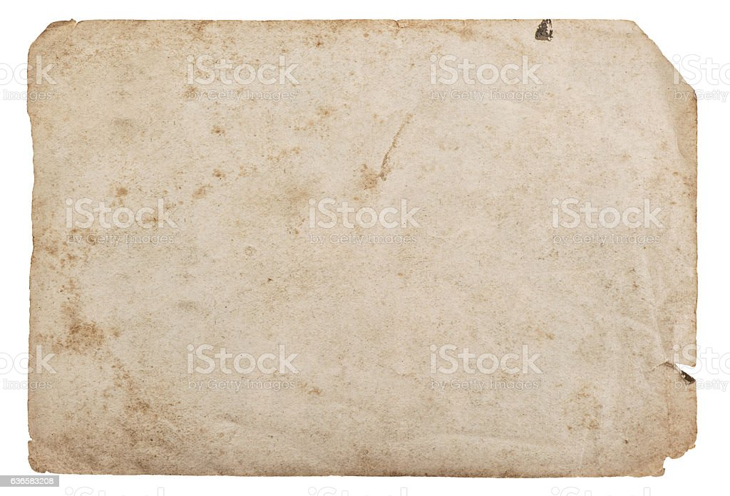 Old paper sheet isolated white background cardboard texture - foto de acervo