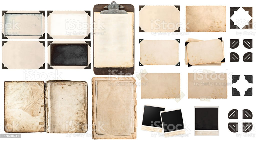 Old paper sheets, book, vintage photo frames and corners stock photo