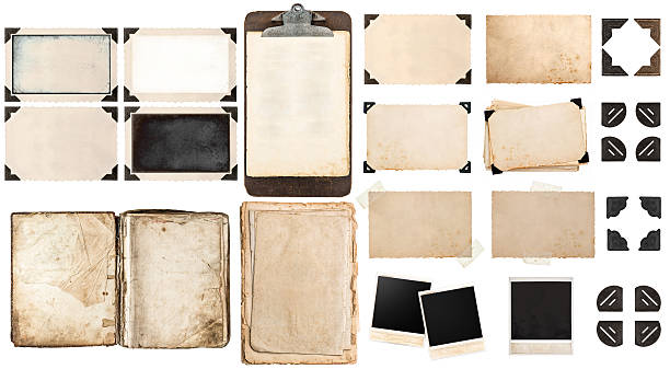 old paper sheets, book, vintage photo frames and corners - photo corner stock photos and pictures