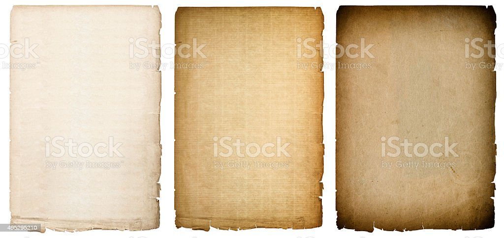 Old paper sheets texture with dark edges. Vintage background stock photo