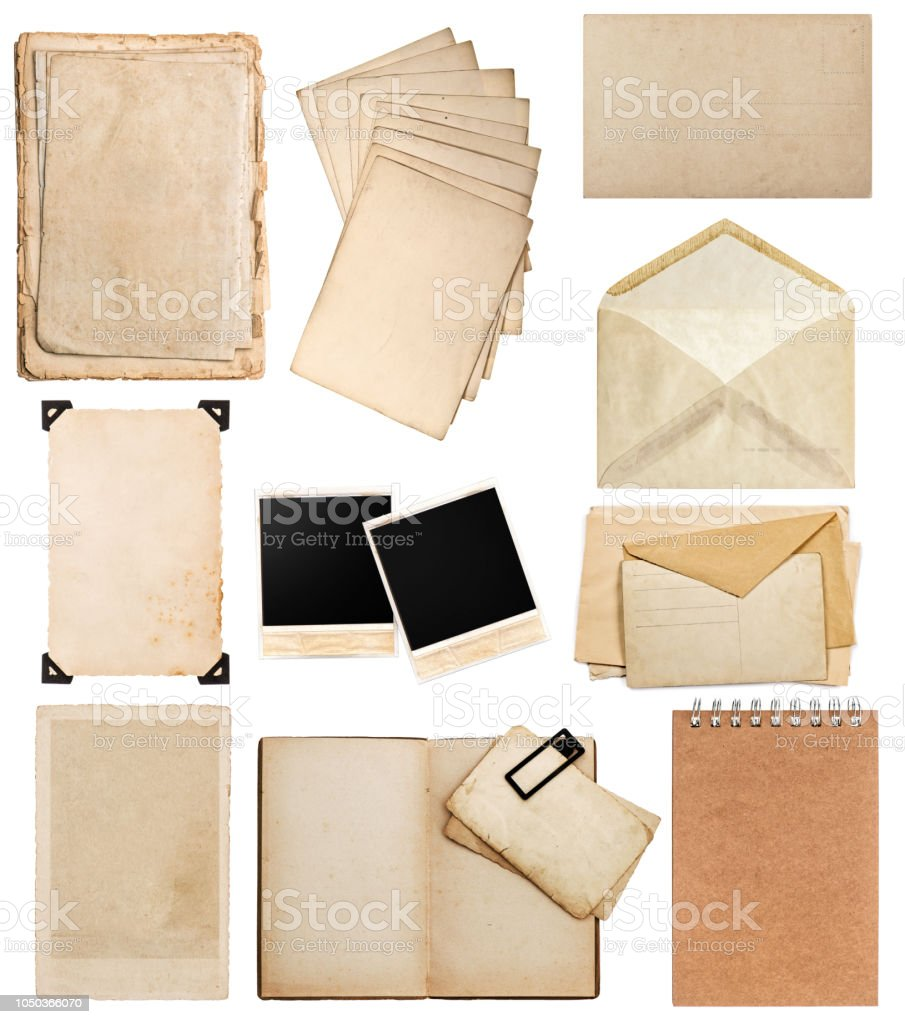 Old Paper Sheets Vintage Photo Album Book Page Card Frame Stock
