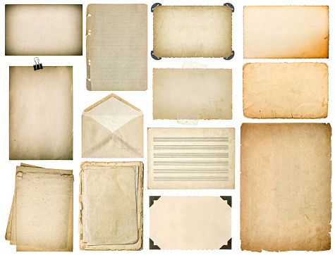 Old paper sheets with edges. Vintage book pages, cardboards