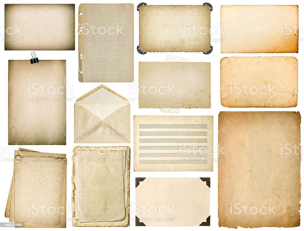 Old paper sheets with edges. Vintage book pages, cardboards stock photo