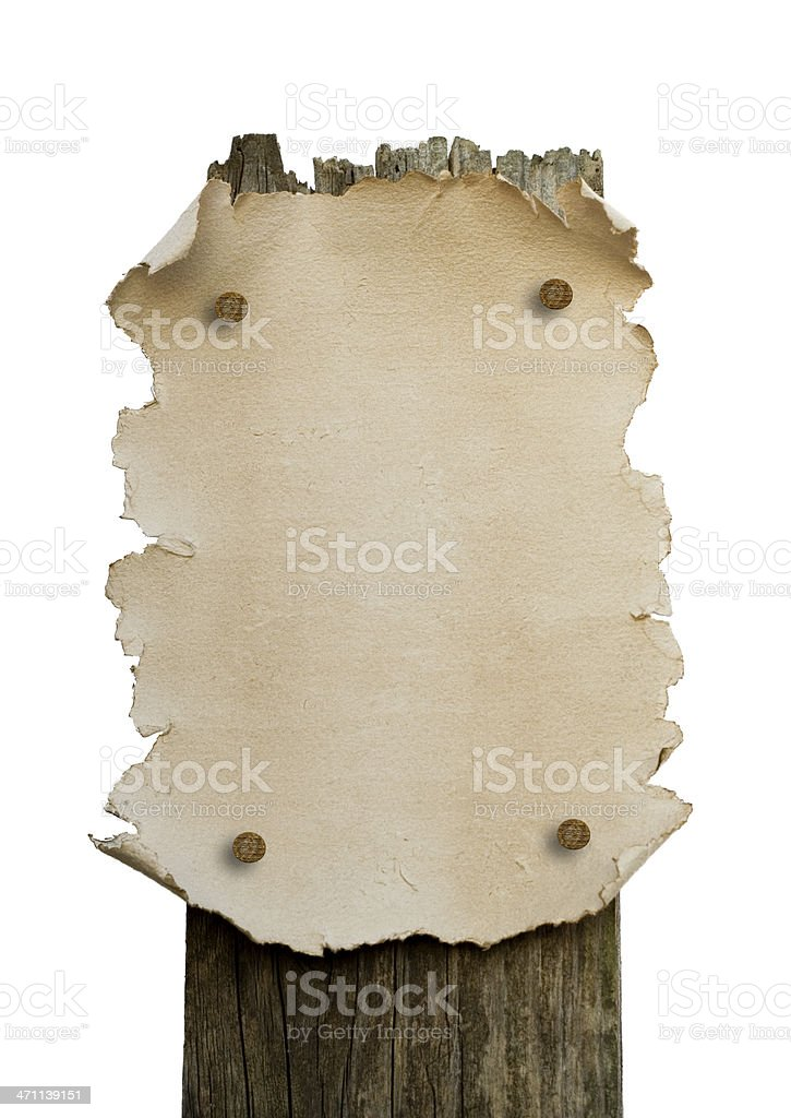 Old Paper Sign stock photo