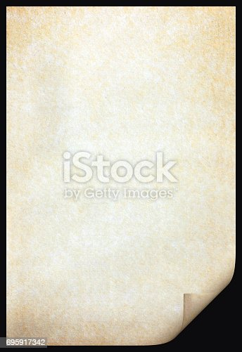 891131294istockphoto Old paper texture with stains patterns and the bent edge 695917342