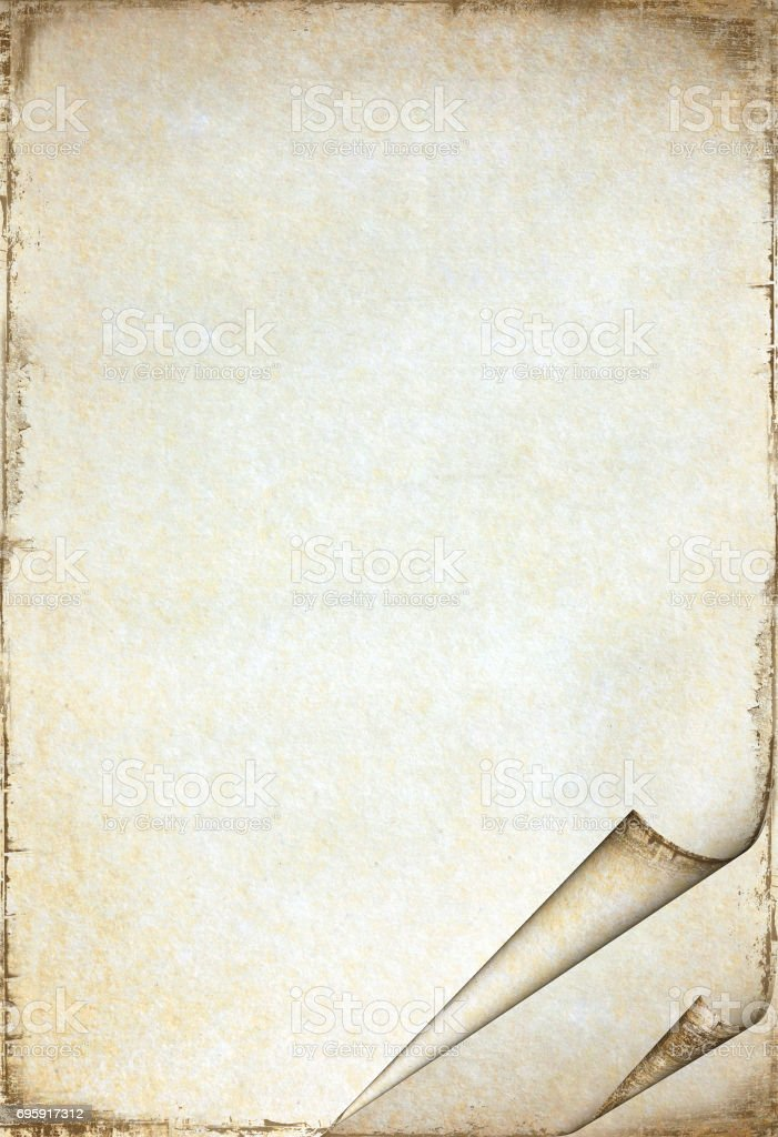 Old paper texture with stains patterns and the bent edges stock photo