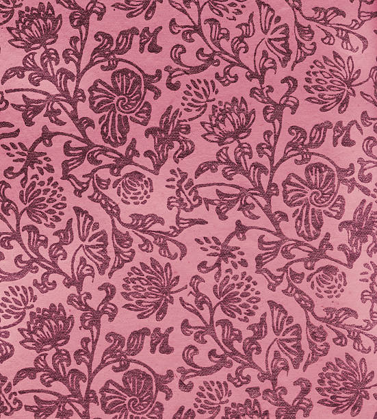 old paper with Art Nouveau floral pattern stock photo