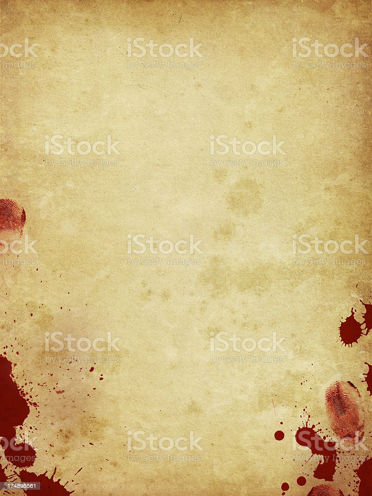 old paper with bloody fingerprints and splats stock photo