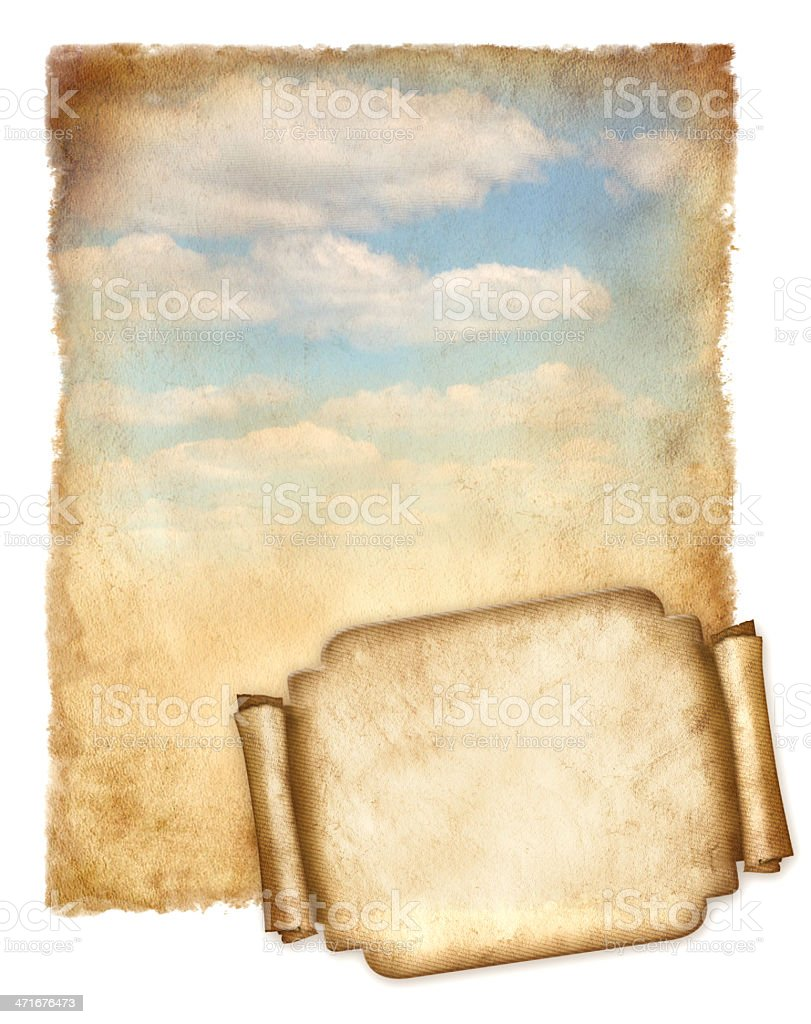 Old paper with blue sky and banner isolated on white royalty-free stock photo