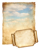 istock Old paper with blue sky and banner isolated on white 471676473