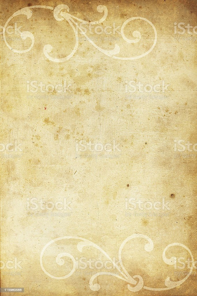 old paper with calligraphic ornaments royalty-free stock photo