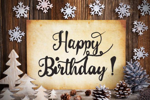 Altes Papier mit Weihnachtsdekoration, Text alles Gute zum Geburtstag – Foto