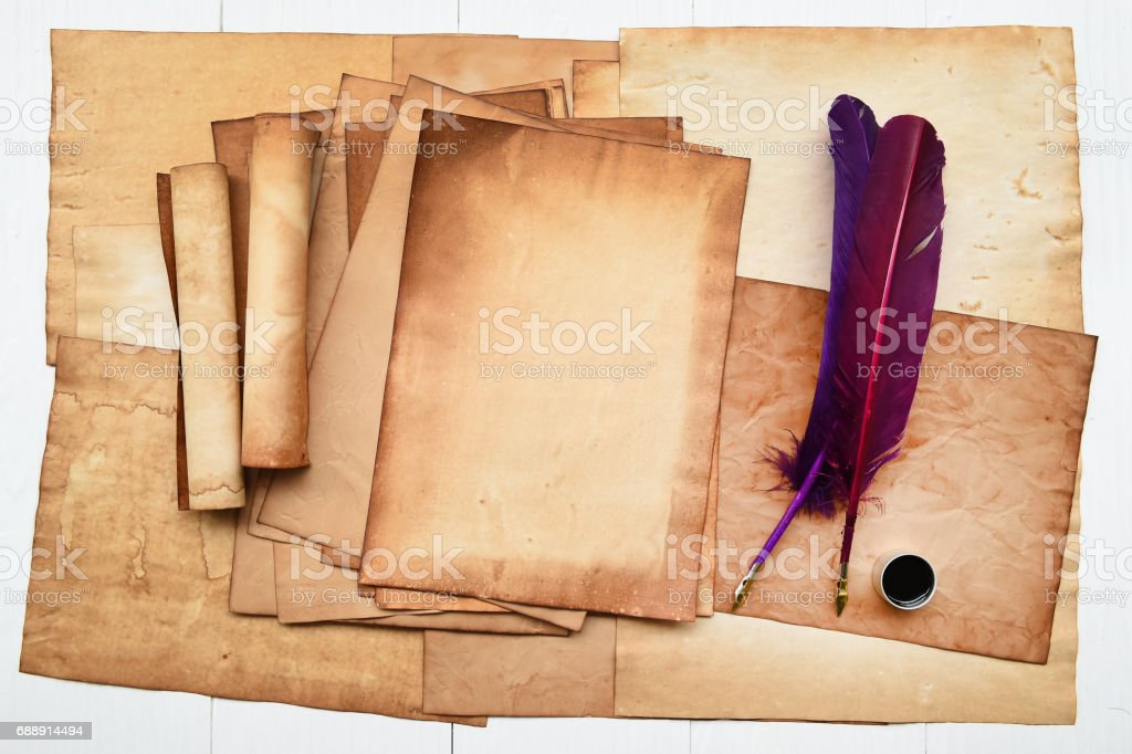 Old Paper With Feather And Ink Stock Photo & More Pictures of