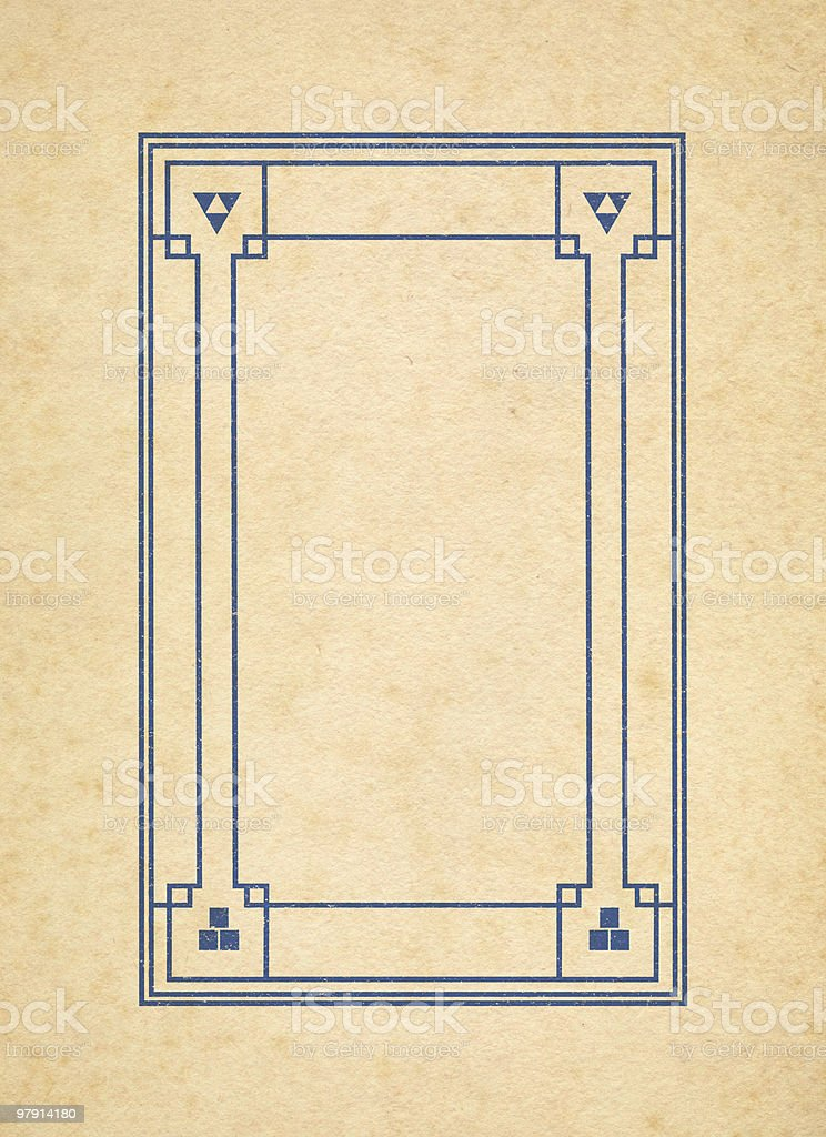 old paper with grungy art deco frame royalty-free stock photo