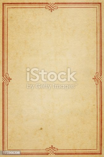 istock old paper with red calligraphic frame 172366398