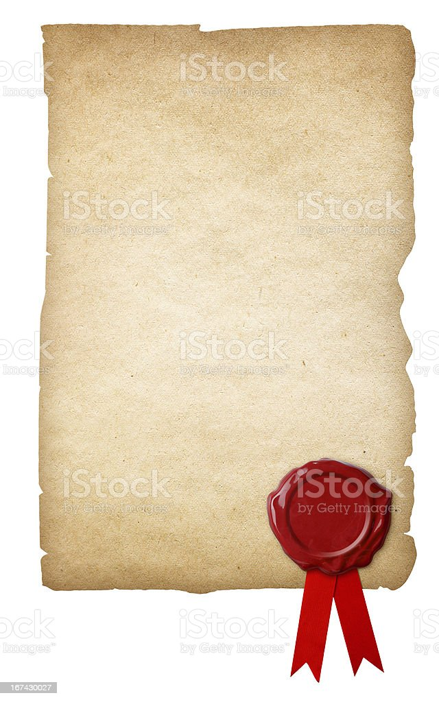 Old paper with wax seal and ribbon isolated royalty-free stock photo