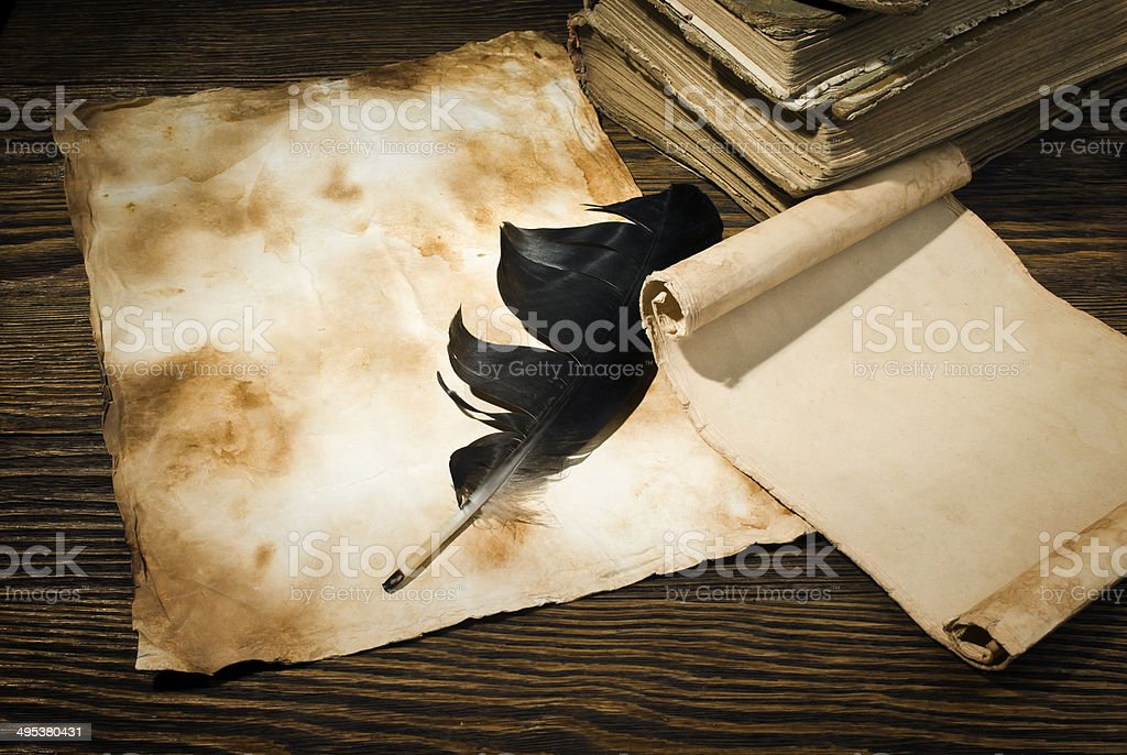 old papers on a wooden table royalty-free stock photo