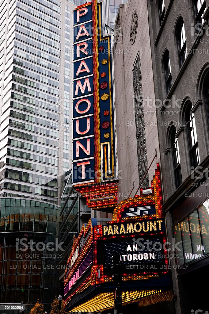 Old Paramount Theater Neon Sign stock photo