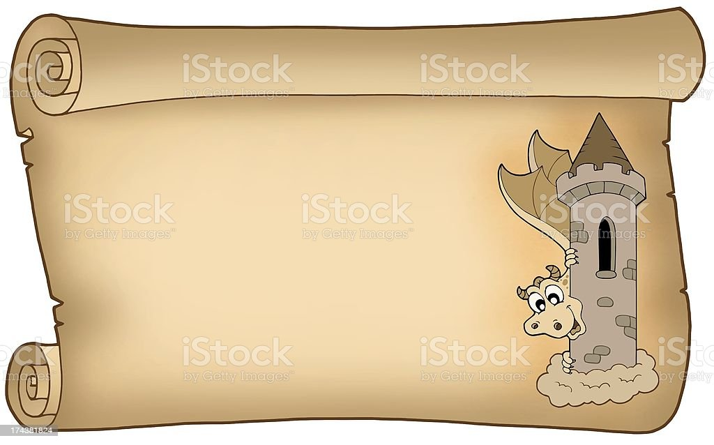 Old parchment with dragon royalty-free stock photo