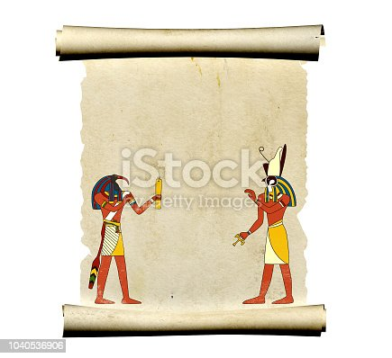 istock Old parchment with Egyptian gods images Toth and Horus 1040536906