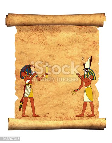 istock Old parchment with Egyptian gods images Toth and Horus 945207318