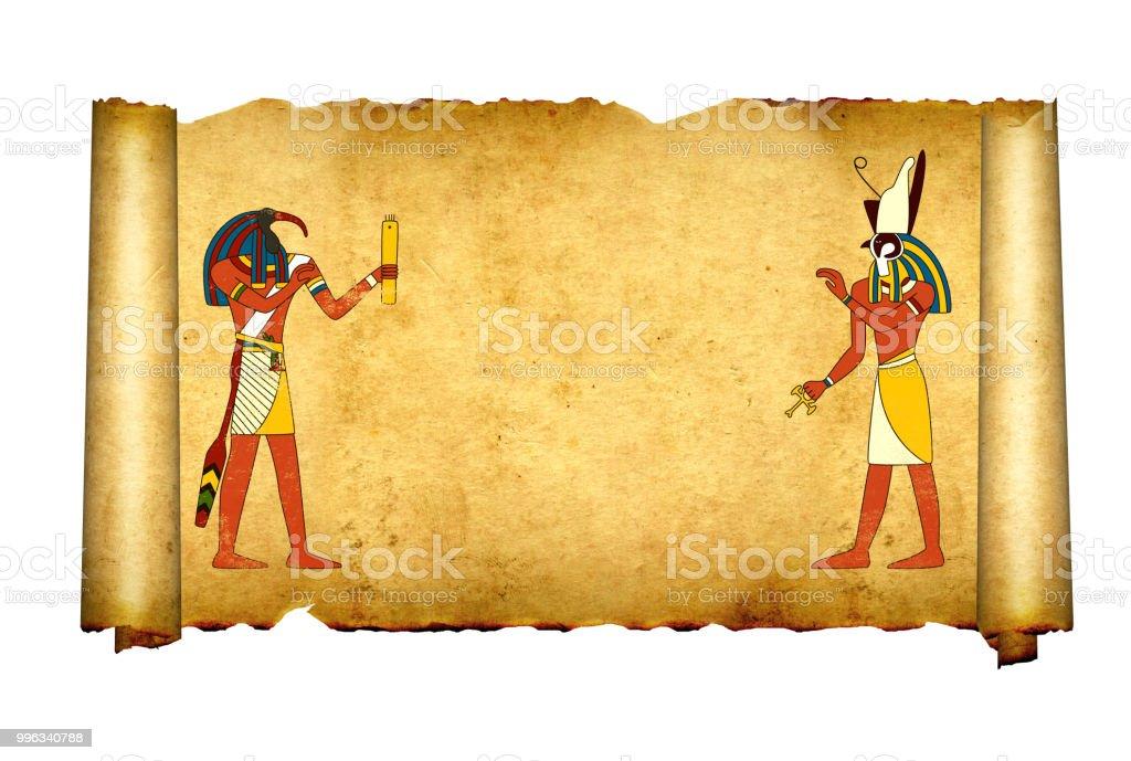 Fotografía De Pergamino Viejo Con Imágenes De Dioses Egipcios Toth Y